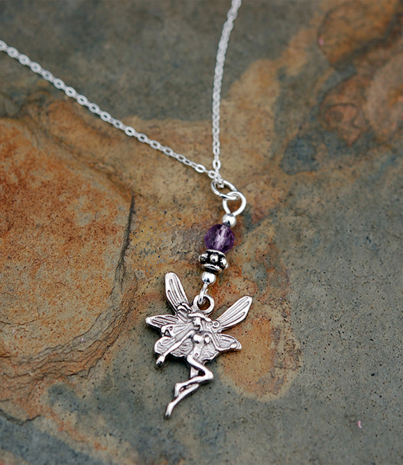 GS535 Celtic Fairy with Amethyst Pendant
