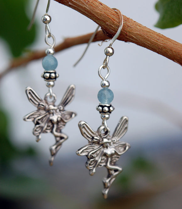 Celtic Fairy and Aquamarine Earrings