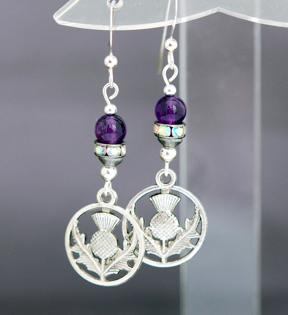 Scottish Thistle  with Rhinestones and Amethyst Earrings