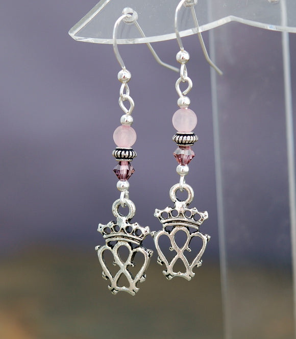 Rose Quartz with Scottish Luckenbooth Earrings