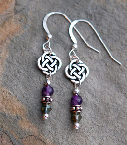 GS564 Round Knot Celtic Earrings with Amethyst