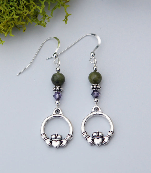 Connemara Marble and Lavender Claddagh Earrings