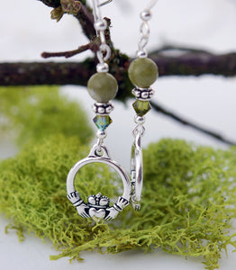 Connemara Marble with Moss Crystal Claddagh Earrings