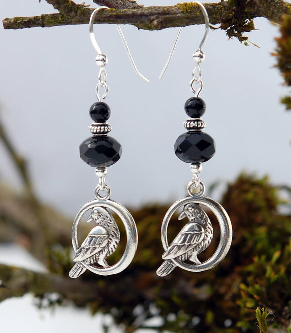 Black Onyx with Celtic Raven Earrings