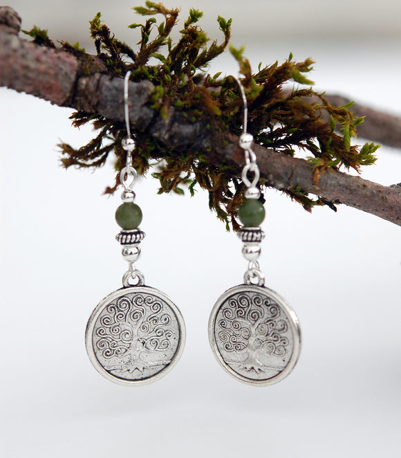 Solid Coin Tree of Life with Connemara Marble Earrings