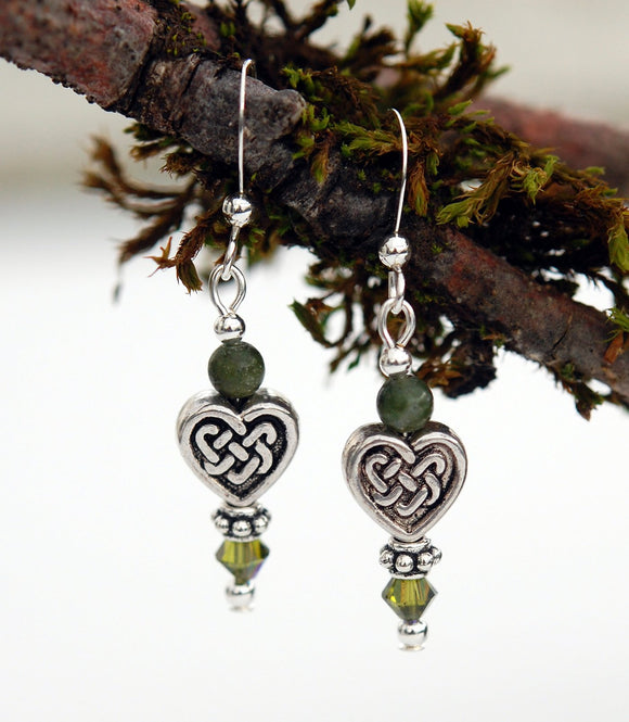 Celtic Heart Knot with Connemara Marble Earrings