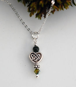 GS576 Connemara Marble with Celtic Heart Knot