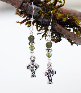 Celtic Cross with Connemara Marble Earrings