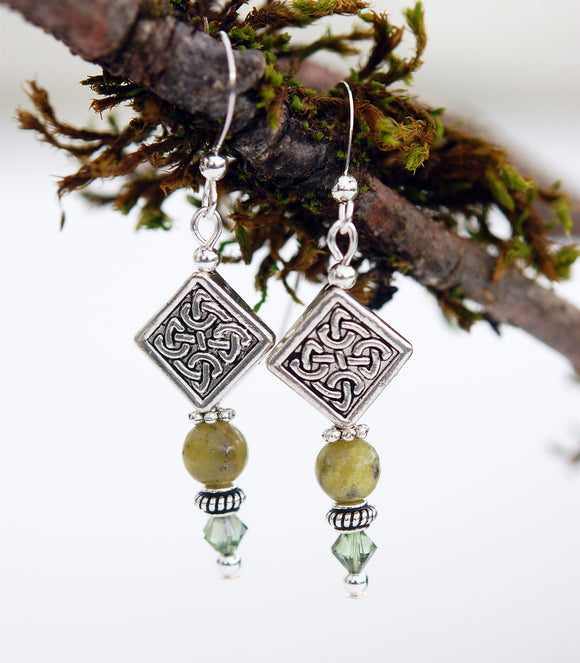 Diamond Celtic Knot with Connemara Marble Earrings