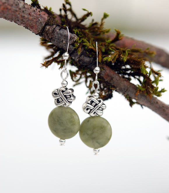 Celtic Knot with Connemara Marble Earrings