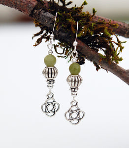 Fluted Beads and Celtic Knot with Connemara Marble Earrings