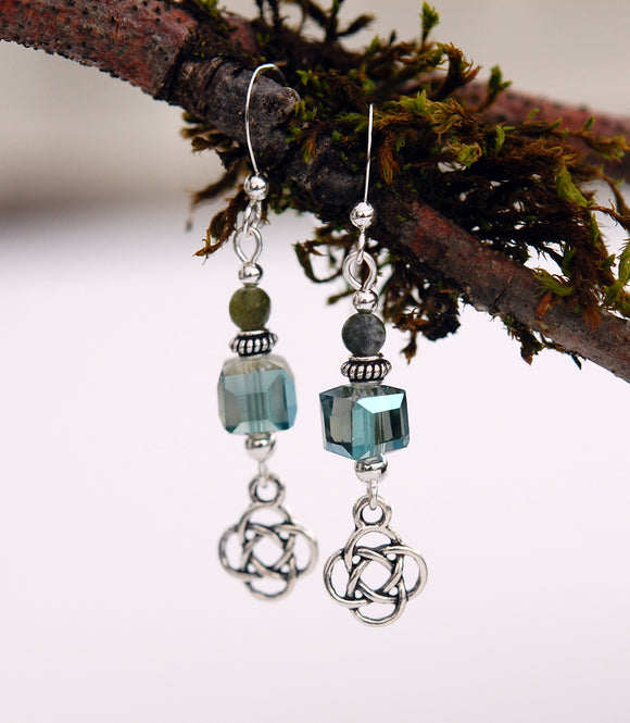 Cube Crystal with Connemara Marble Earrings