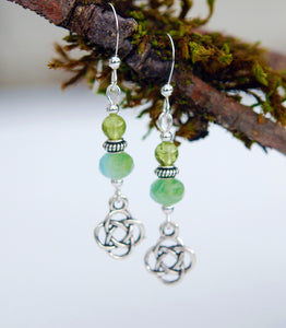 Peridot with Glass Bead and Celtic Knot Earrings