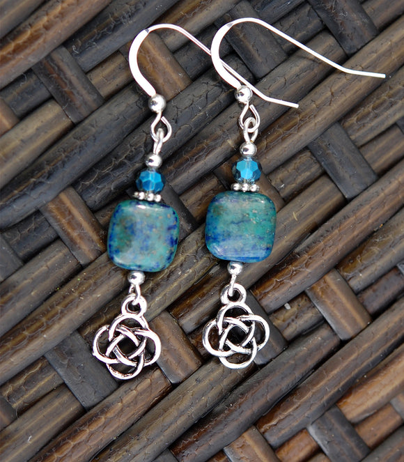Square Azurite with Celtic Knot Earrings