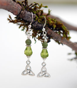 Teardrop Crystal and Connemara Marble with Trinity Knot Earrings