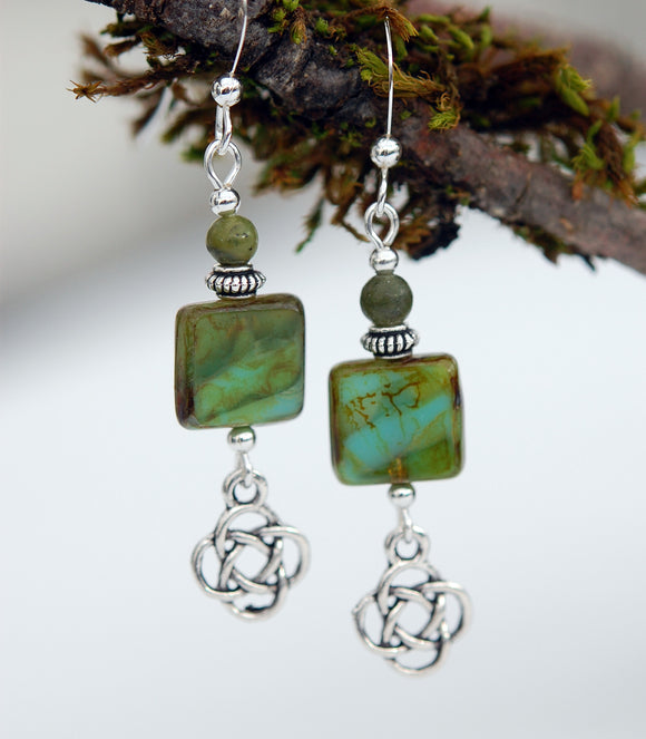 Square Bead with Connemara Marble and Celtic Knot Earrings