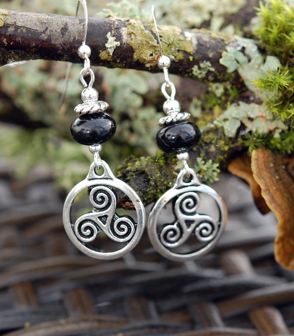 Celtic Triskele with Black Onyx Earrings