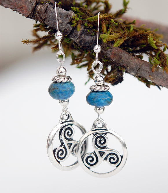 Blue Jasper with Celtic Triskele Earrings