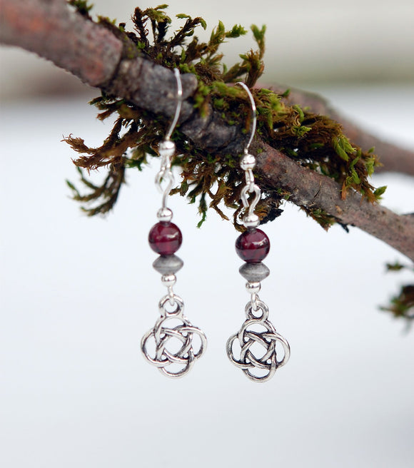 Garnet with Celtic Knot Earrings