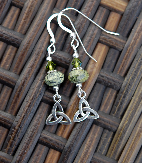 Trinity Celtic Knot with Serpentine Earrings