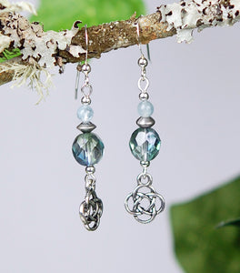 Aquamarine with Glass Beads and Round Knot