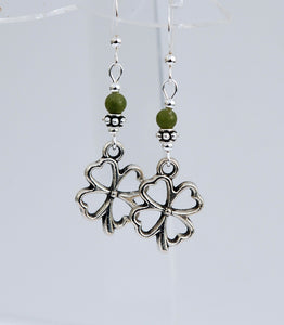 Four Leaf Clover with Connemara Marble Earrings