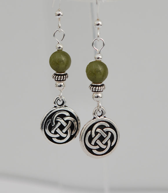 Celtic Knot Disk with Connemara Marble Earrings