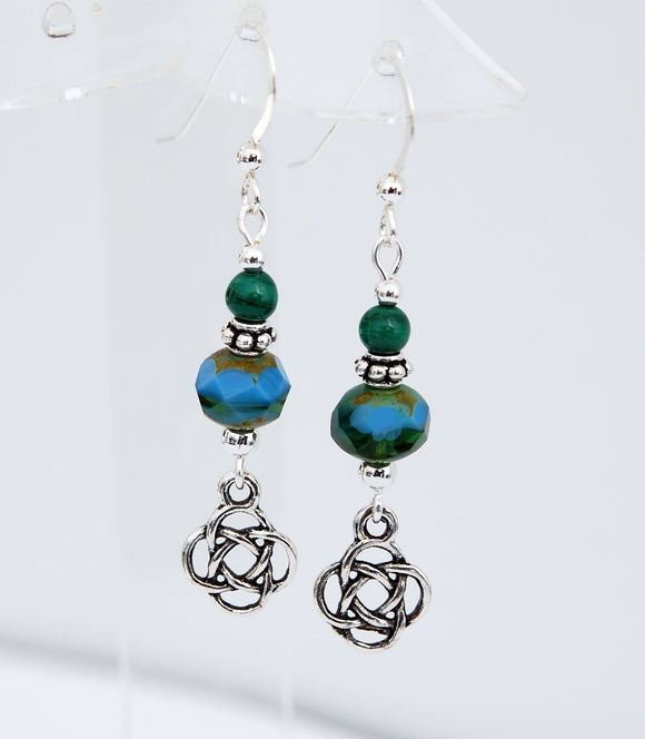 GS630 Malachite with Round Celtic Knot Earrings