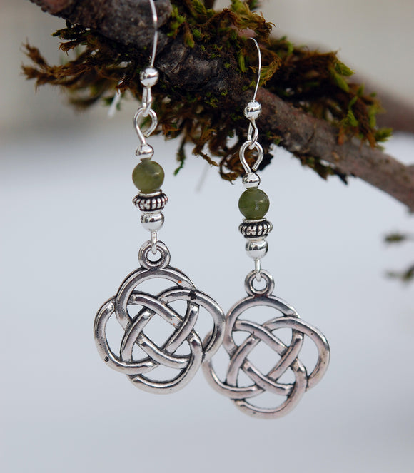 GS631 Lughs Knot with Connemara Marble Earrings