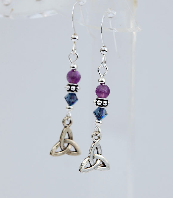 GS636 Amethyst with Trinity Knot Earrings