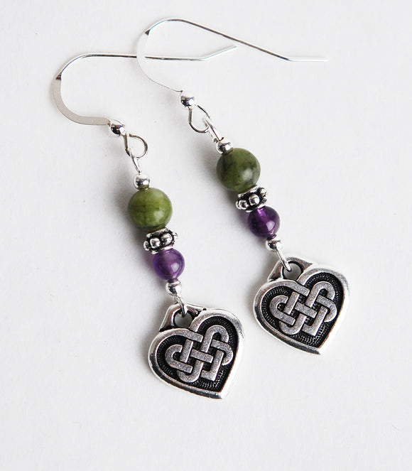 GS643 Amethyst and Connemara Celtic Heart Earrings