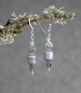 Lavender Quartz with Peacock Frosted Bead