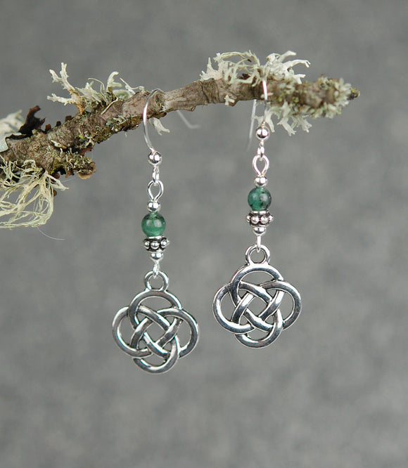 Emerald Gemstones with Round Celtic Knot Drop