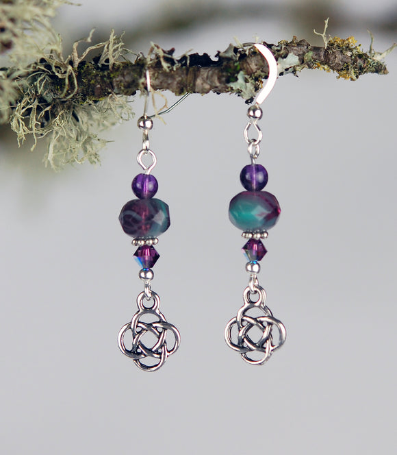 Teal and Soft Purple Rondelles with Amethyst