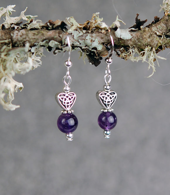 Amethyst  Gemstones with Small Celtic Heart