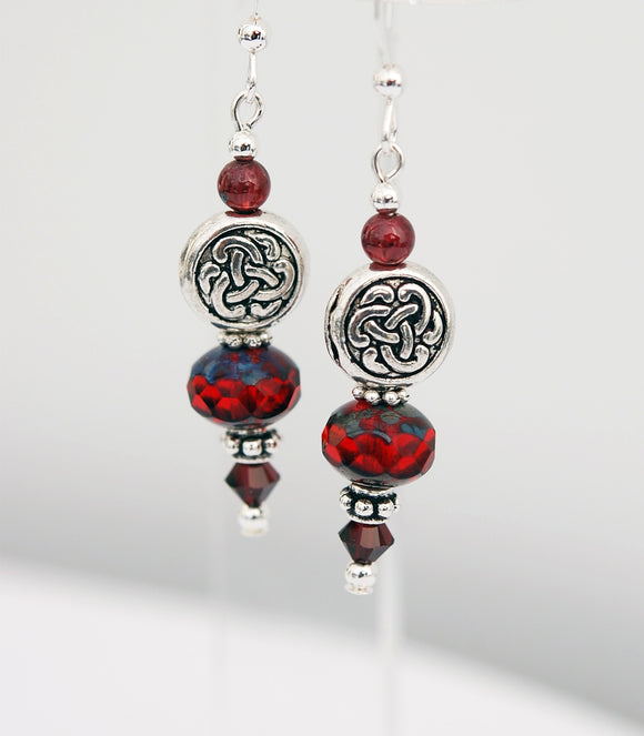 Red Garnet Gemstones with Solid Celtic Knot