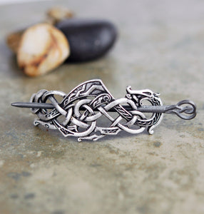 Celtic Guardian Knot Hair Wedge Barrette with Stick