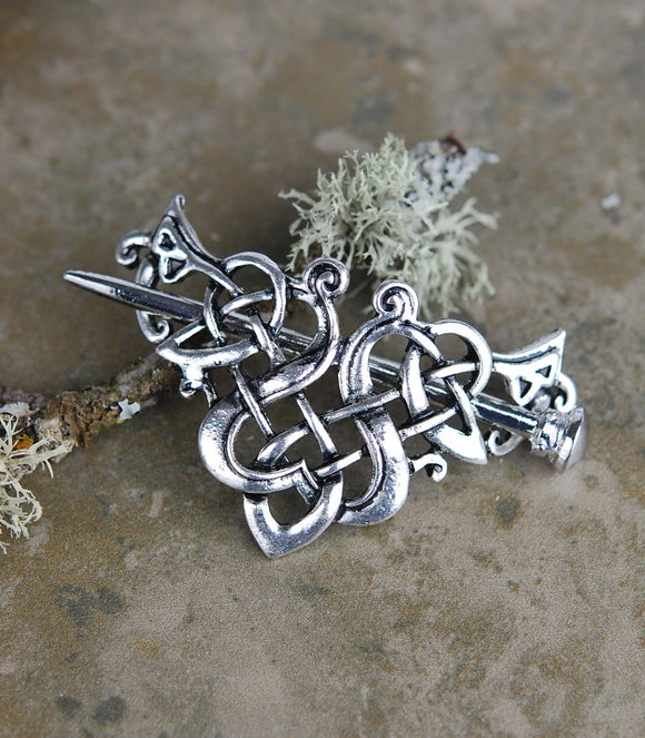 Celtic Knot Hair Wedge Barrette with Stick