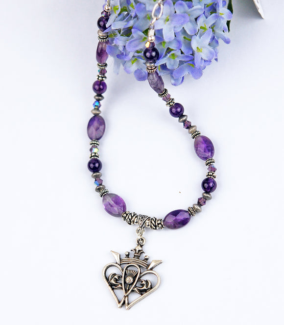 Luckenbooth and Amethyst Scottish Necklace
