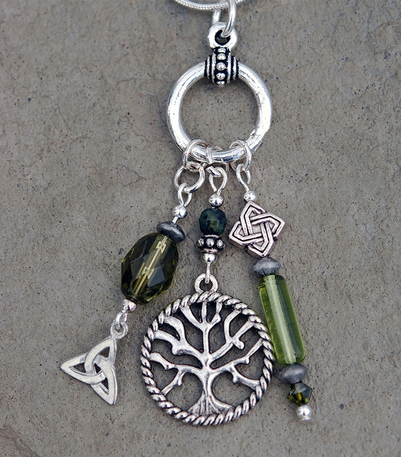 Legend of the Celtic Tree of Life Pendant with Moss Jade