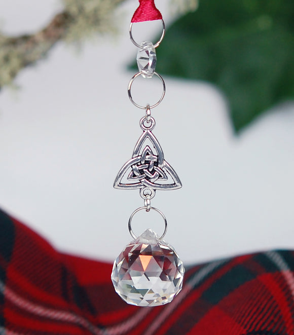 Crystal and Trinity Knot Christmas Ornament