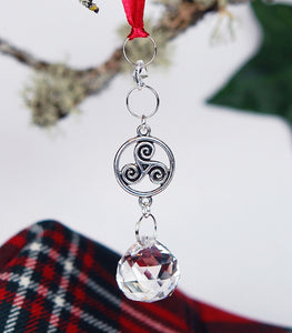 Crystal and Celtic Triskele Christmas Ornament