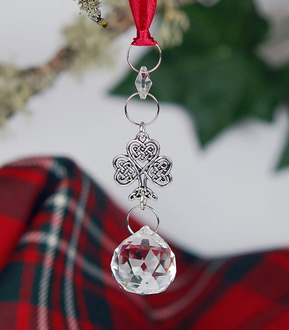 Crystal and Celtic Knot Shamrock Christmas Ornament