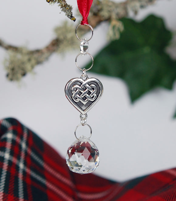 Crystal and Celtic Heart Christmas Ornament