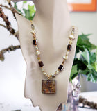 Smoky Quartz and Freshwater Pearls with Raku Celtic Symbol