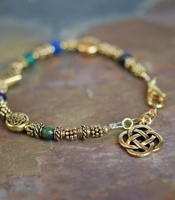 Sacred Numbers Celtic Bracelet in Antique Gold