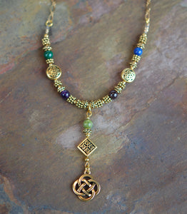 Sacred Numbers Necklace in Antique Gold