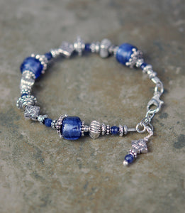 Bracelet with Sapphire Gemstones and Square Celtic Knot Drop