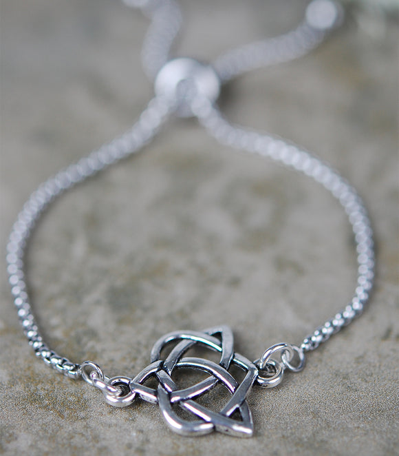 Celtic Heart and Trinity Knot Slide Bracelet