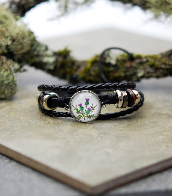 Scottish Thistle Cabochon Bracelet
